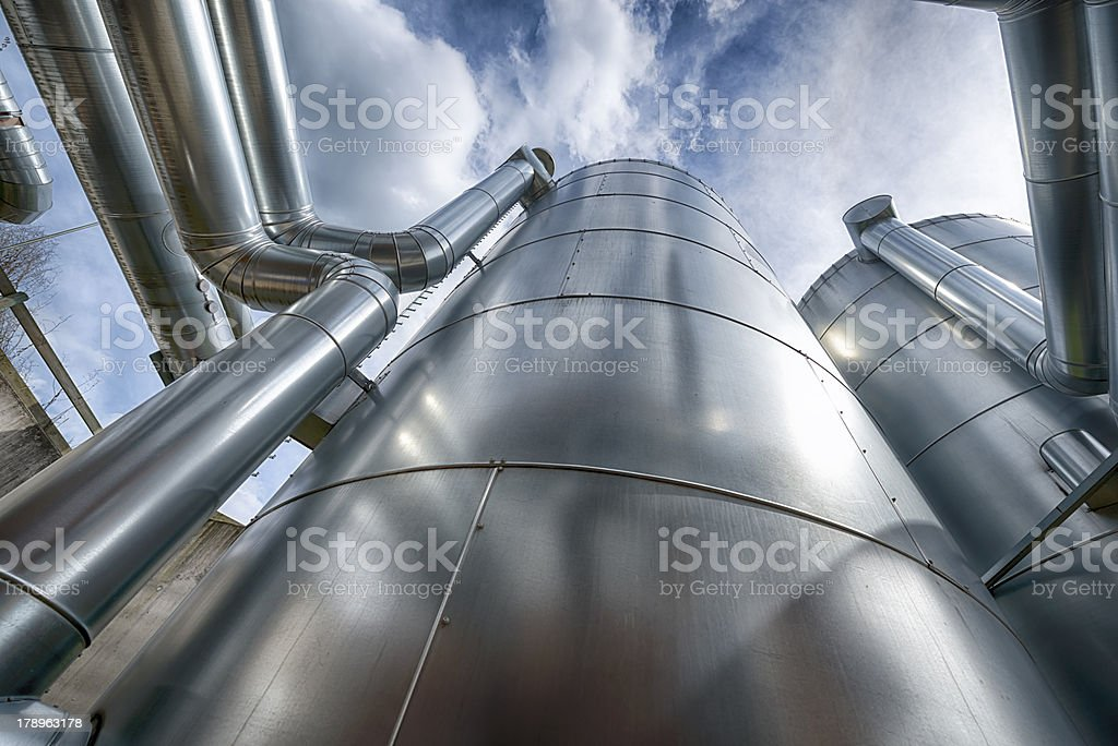 Bioenergie, Biogas, Buffer Vessel, Pufferspeicher,Blockheizkraftwerk, Energiewende, Germany stock photo