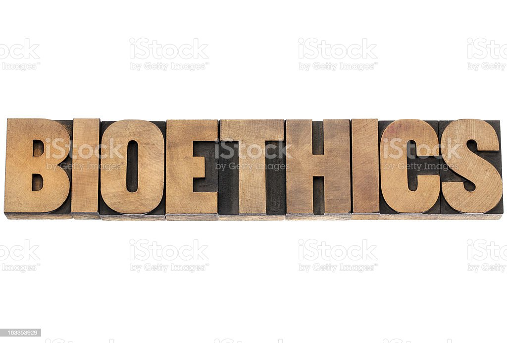 bioethics word in wood type royalty-free stock photo