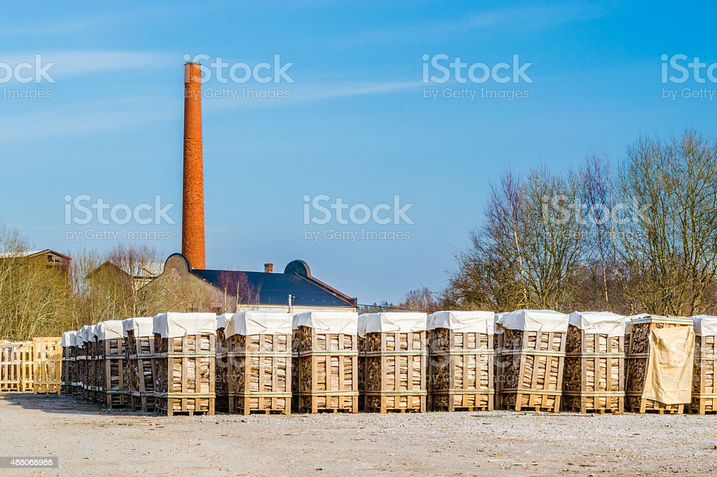 Biofuel and chimney stock photo