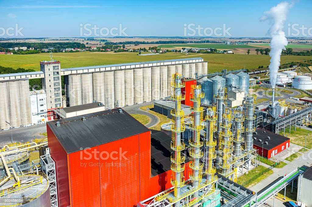 Biofuel factory aerial view stock photo