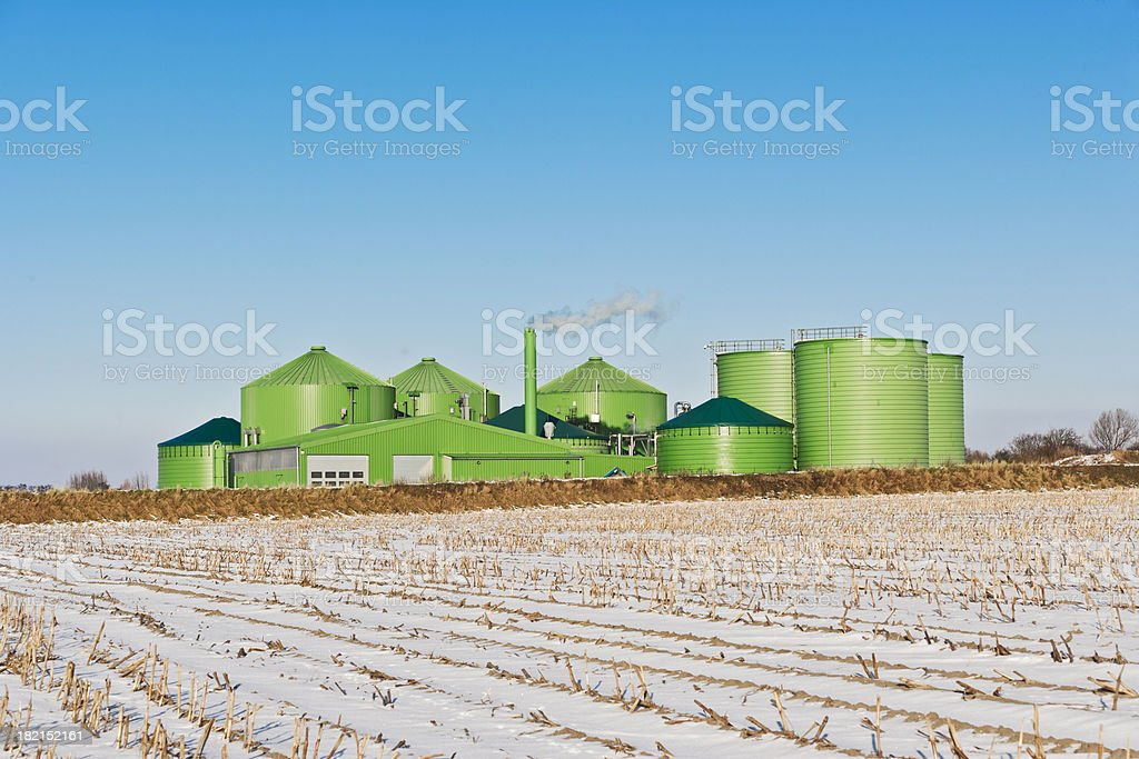 Biogas industry in winter stock photo