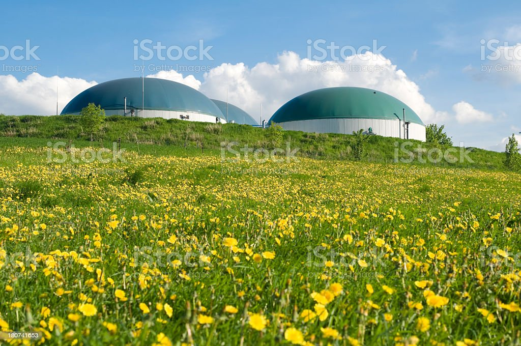 Biogas plant and dandelions stock photo