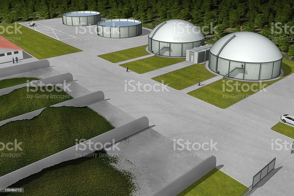 Biogas plant from aerial perspective stock photo