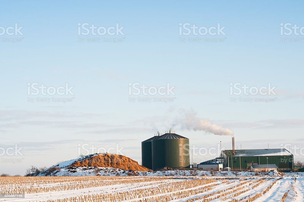 biogas plant in winter stock photo