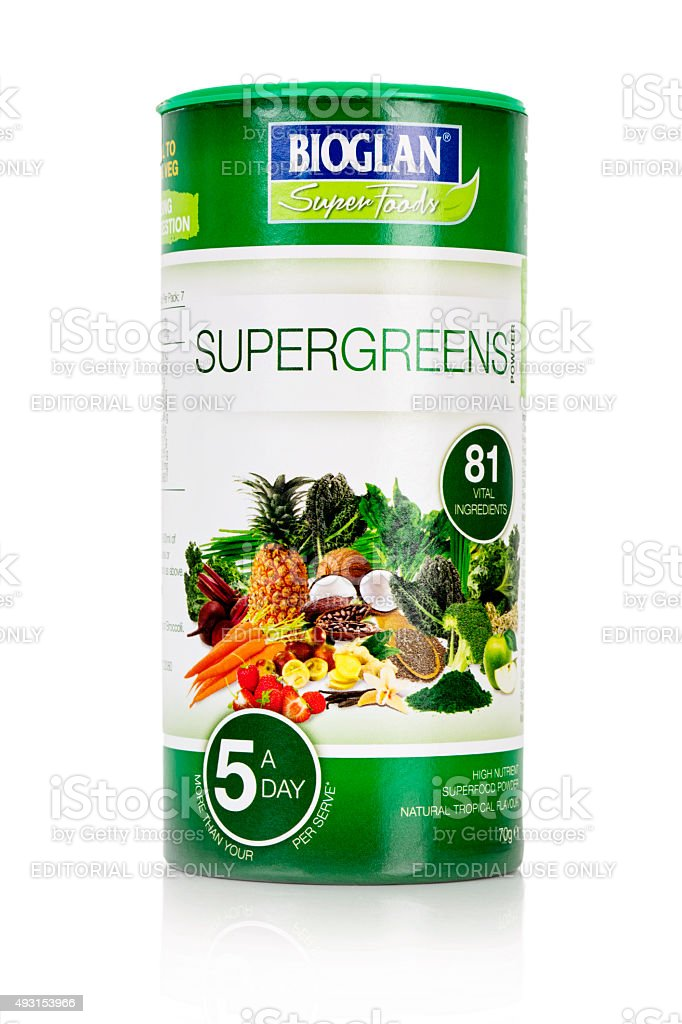Bioglan Supergreens Health Supplement stock photo