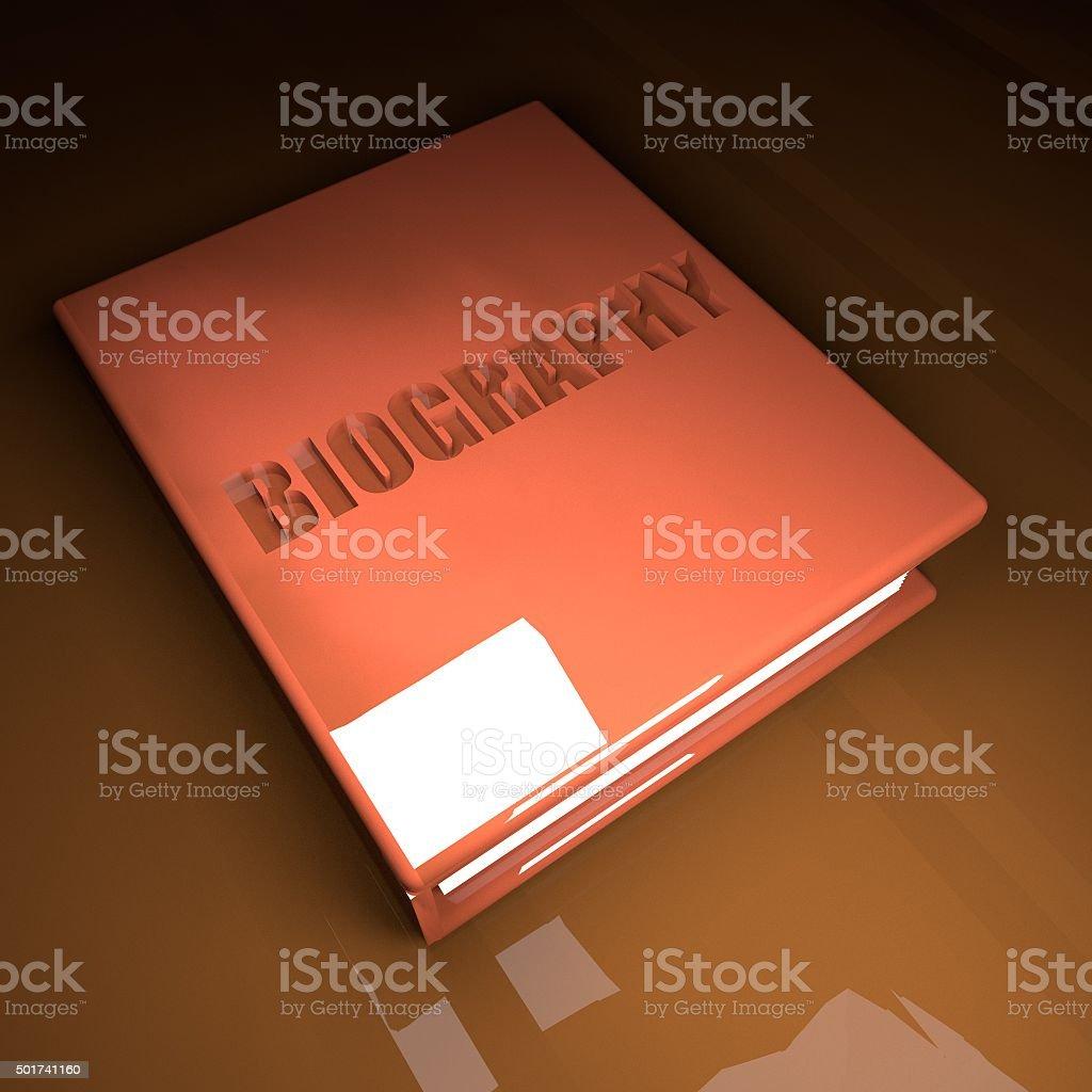 Biography book, 3d stock photo