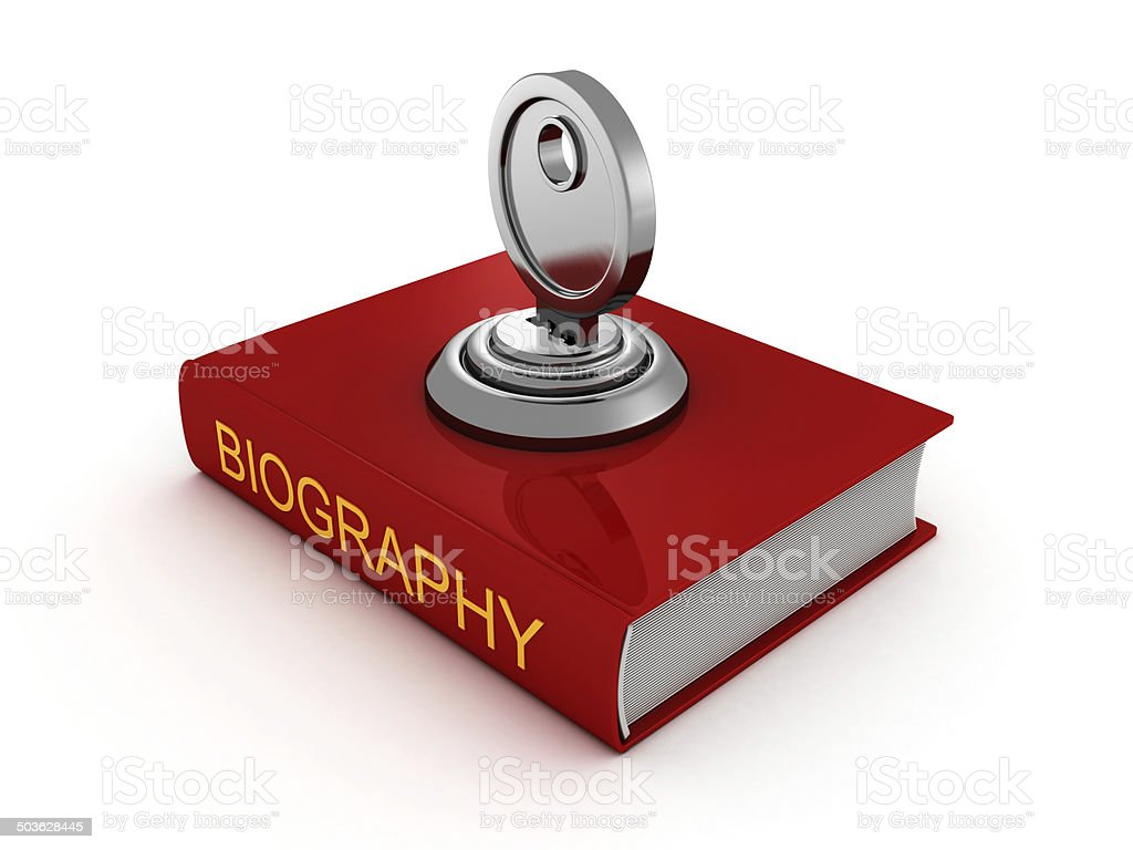 biography book with lock key. private security stock photo