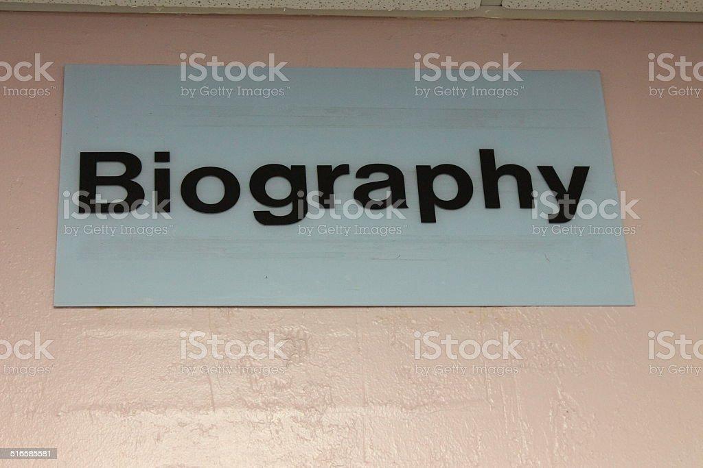 Biography stock photo