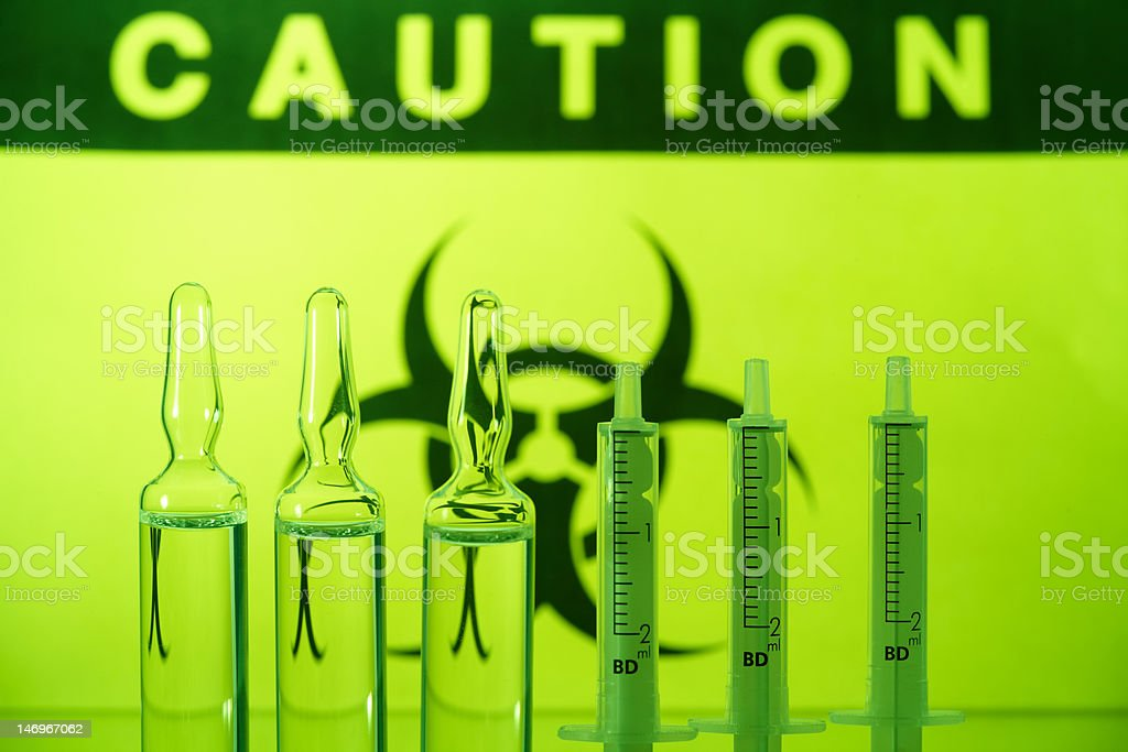 Biohazard and ampules royalty-free stock photo
