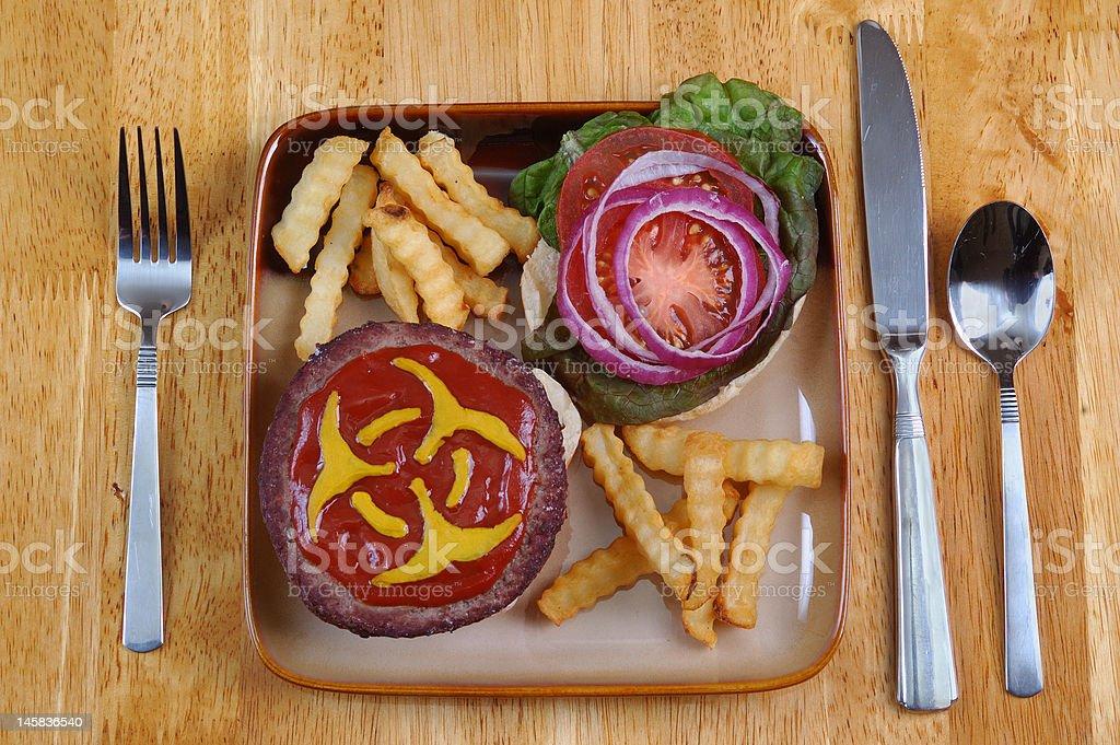 Biohazard Hamburger stock photo