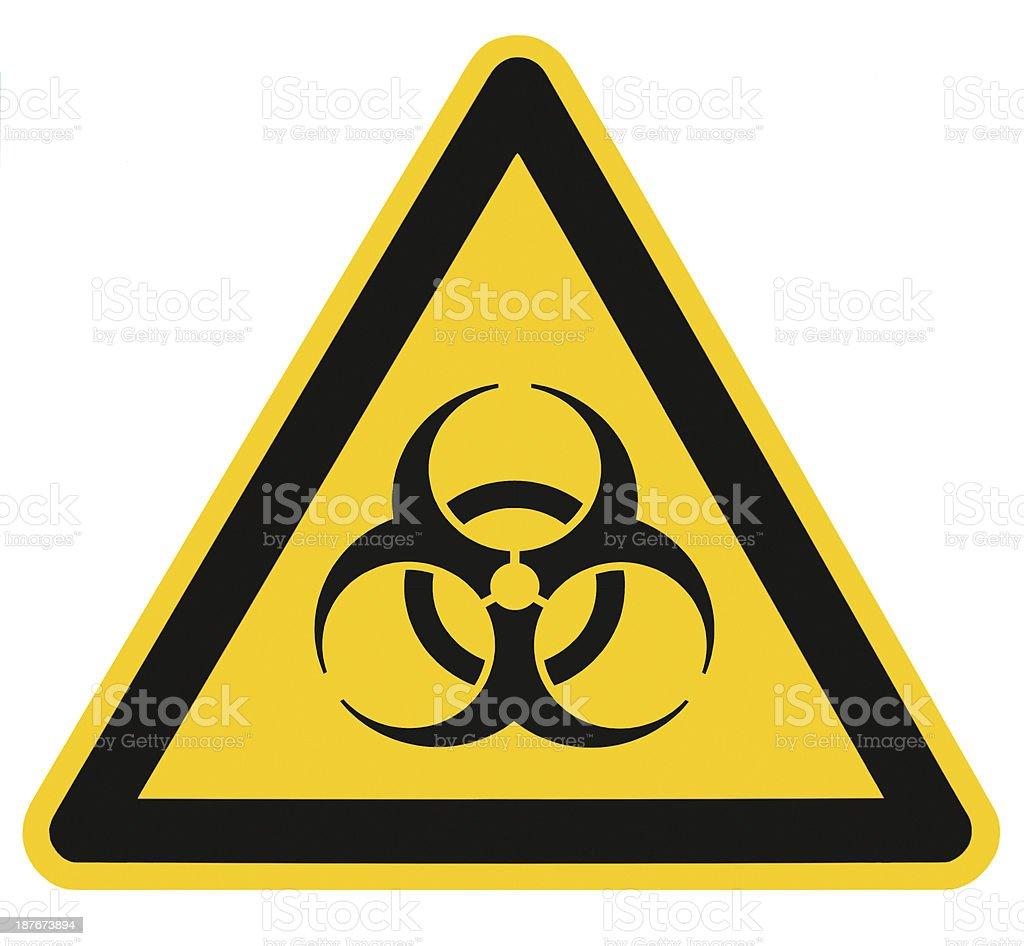 Biohazard symbol sign biological threat alert isolated black yellow signage stock photo