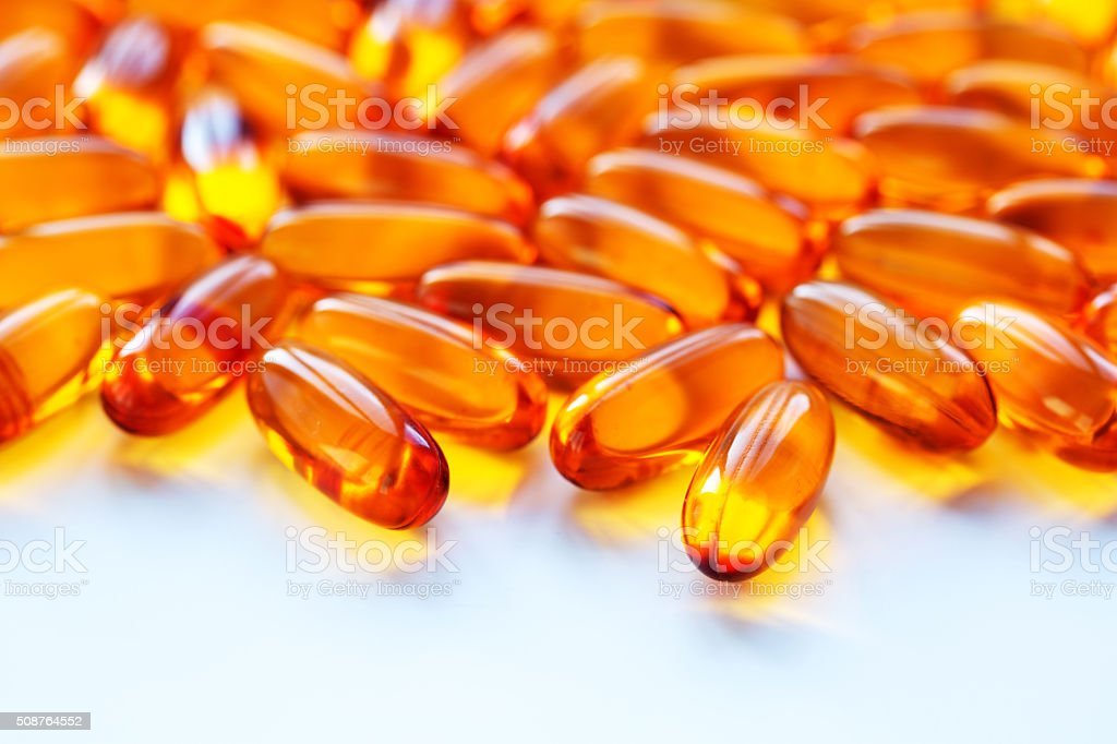 Biological additives  vitamins  capsules  omega 3 with cod-liver oil stock photo