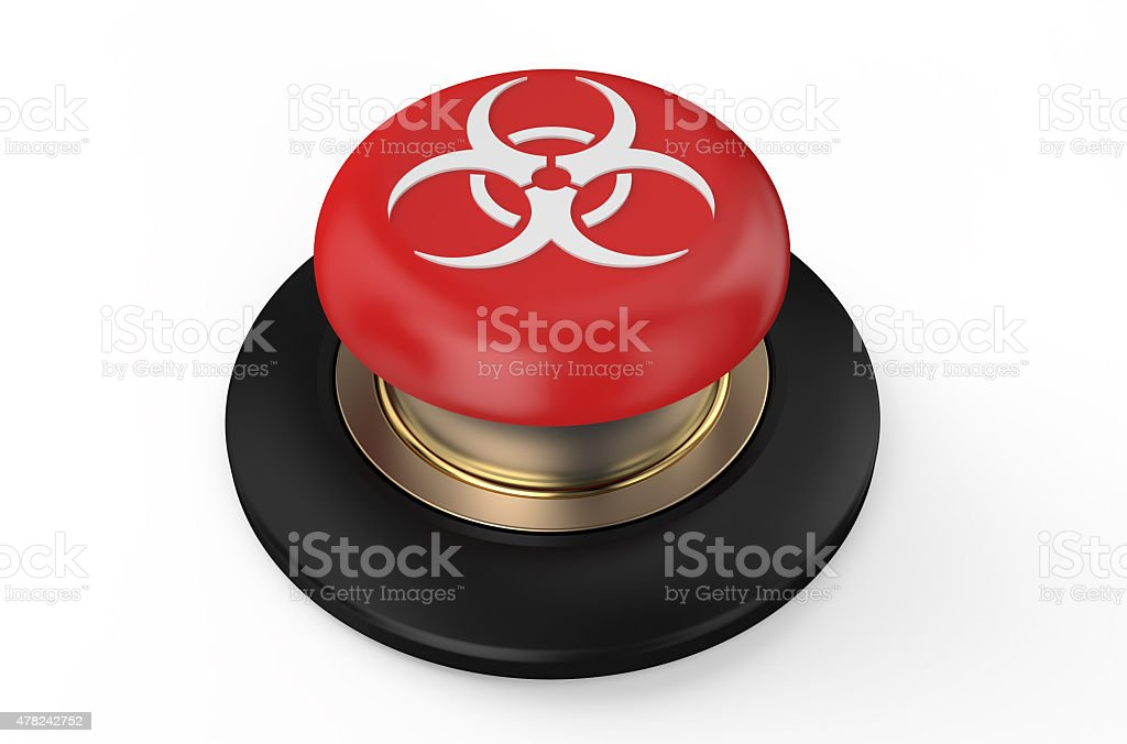 Biological hazard red button stock photo