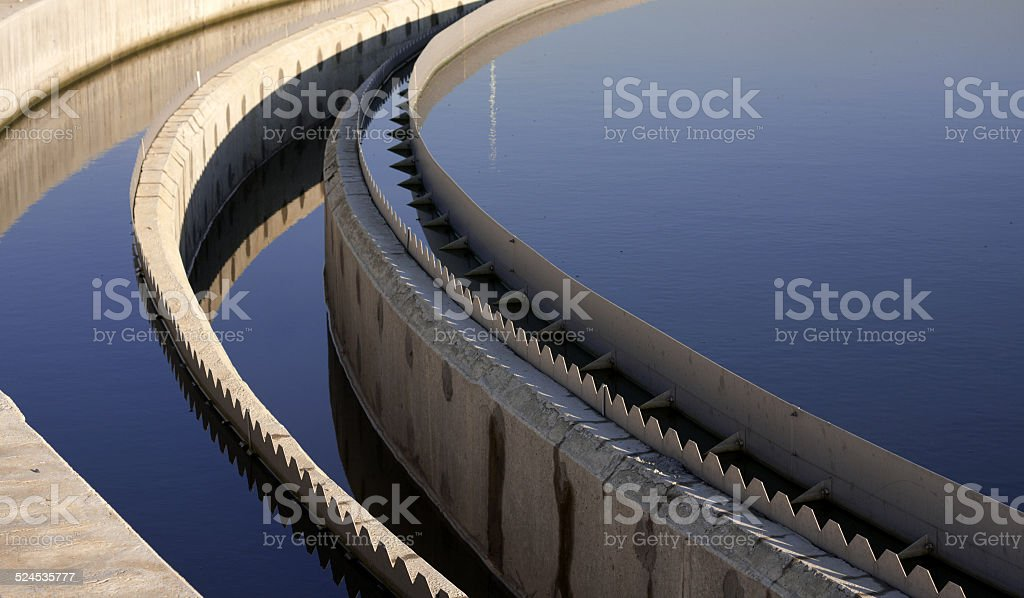 Biological wastewater treatment plant stock photo