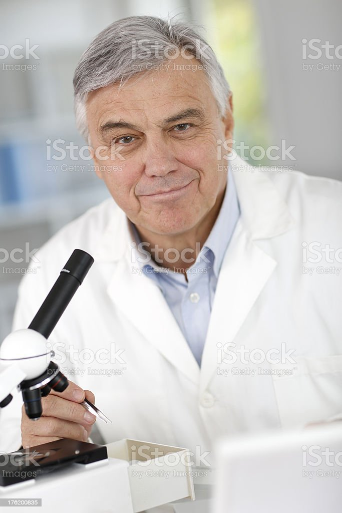 Biologist at work in laboratory royalty-free stock photo