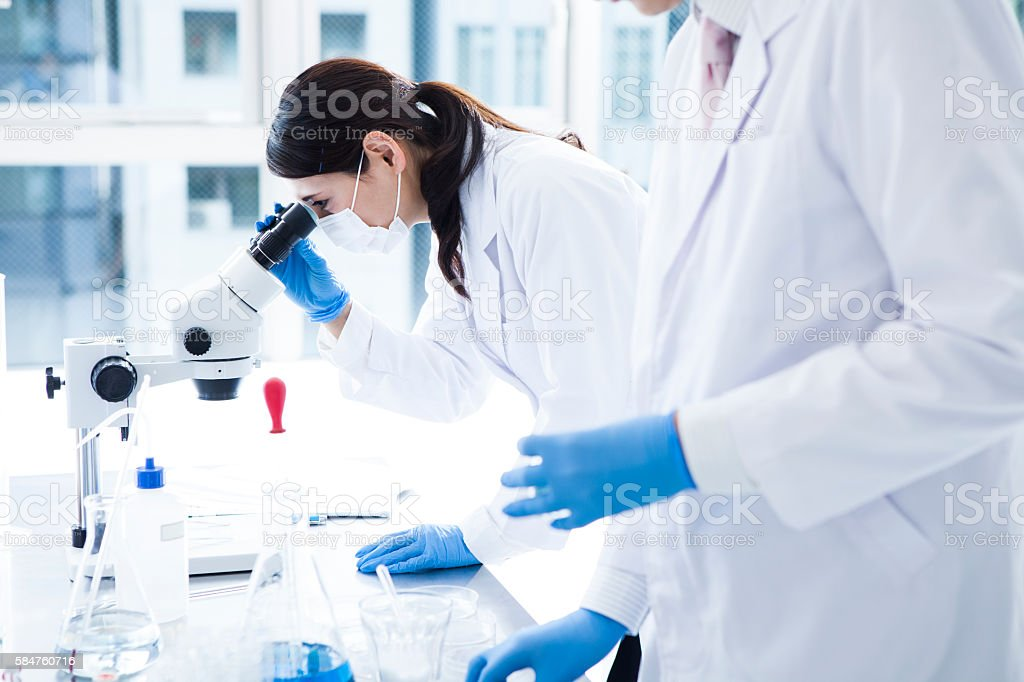 Biologist Working in a Professional Laboratory. stock photo