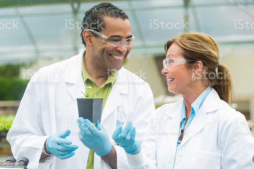 Biologists smiling at each other at work stock photo