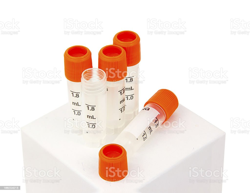 Biology lab tubes with orange screw caps stock photo