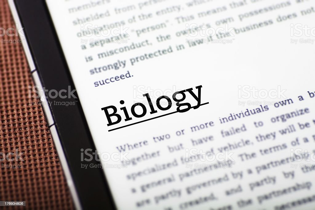 Biology on ebook, tablet concept royalty-free stock photo