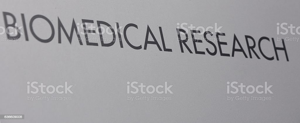 biomedical research sign stock photo