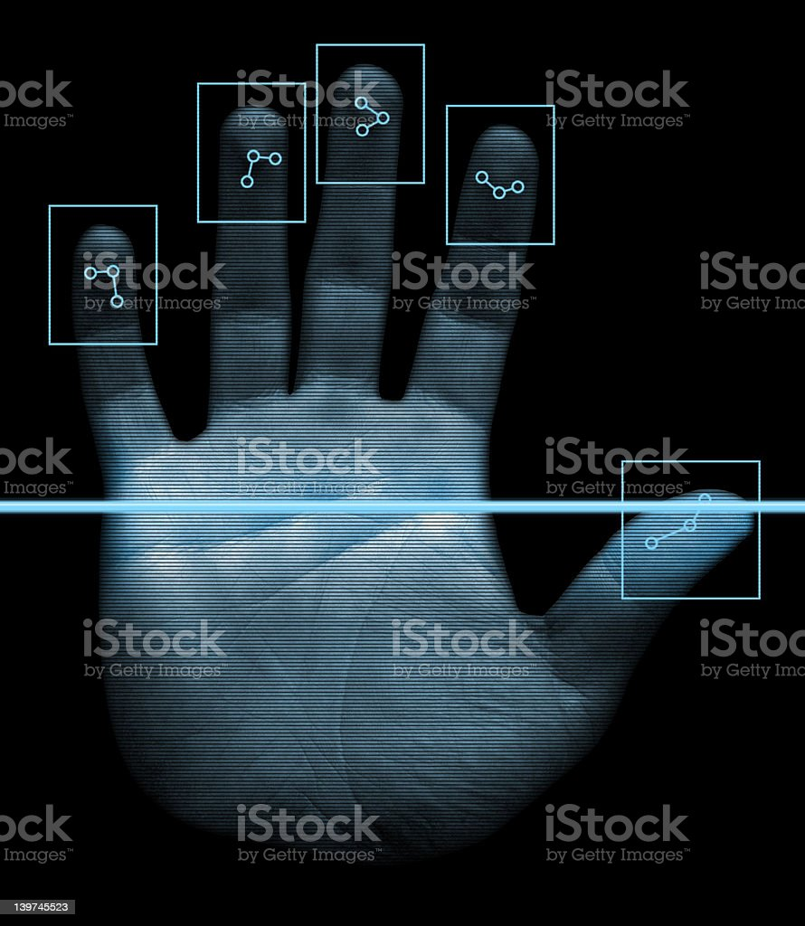 Biometric Hand Scanner stock photo
