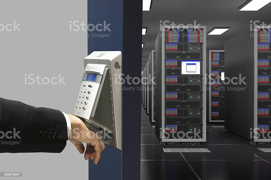 Biometric hand scanning for computer network security stock photo