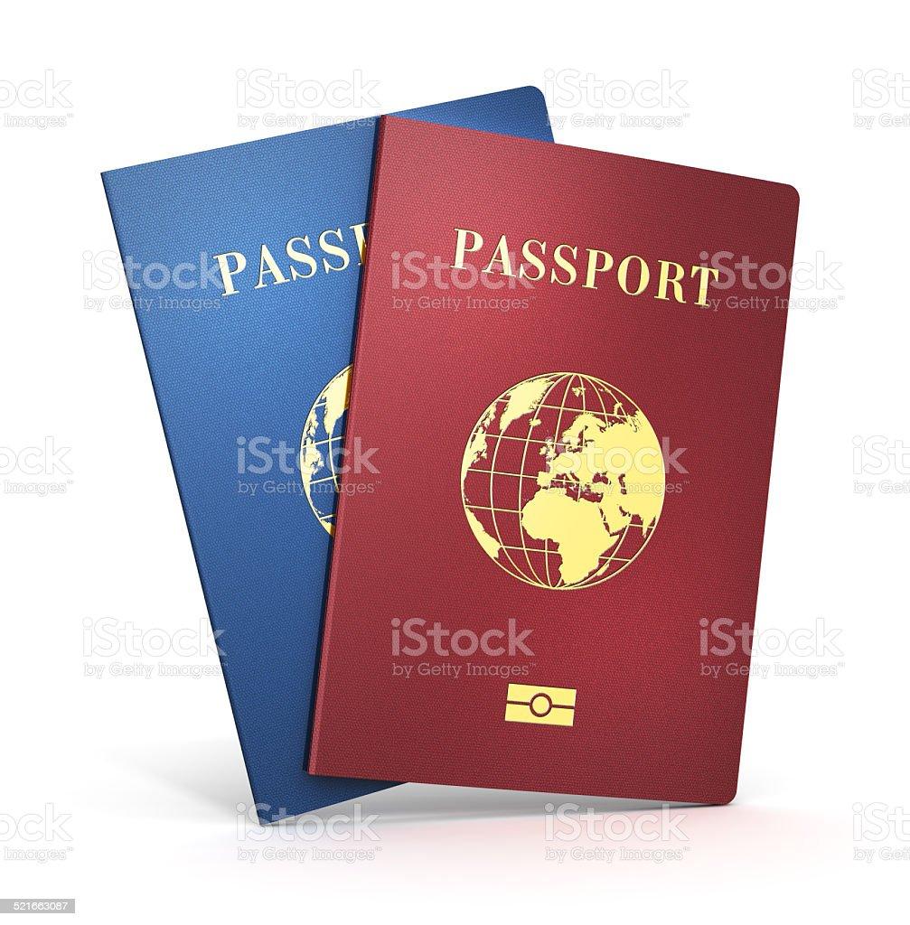 Biometric passports stock photo