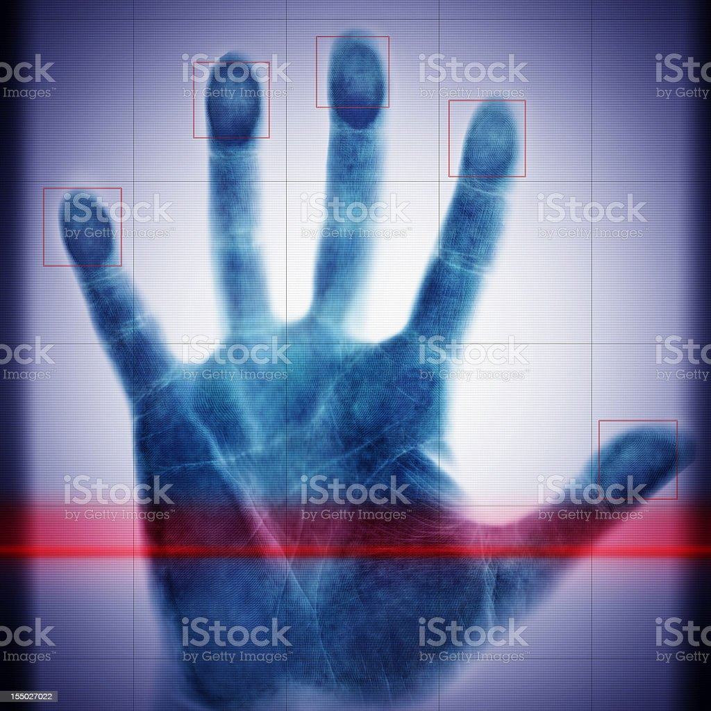 biometric scanning hand of the man stock photo