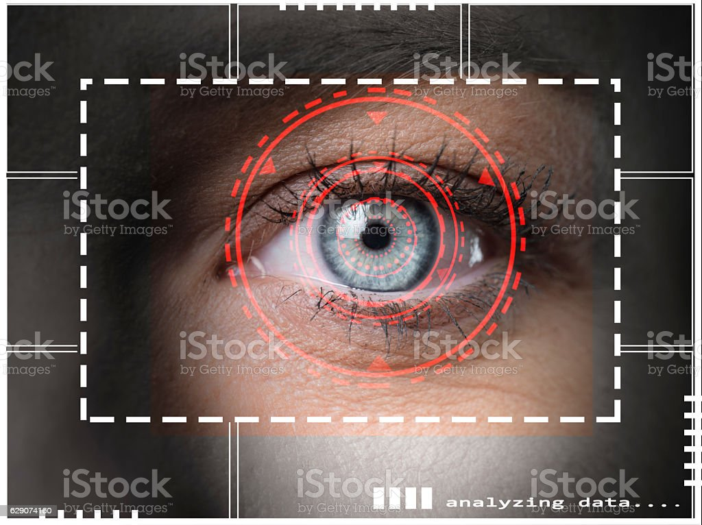 Biometric security scan stock photo