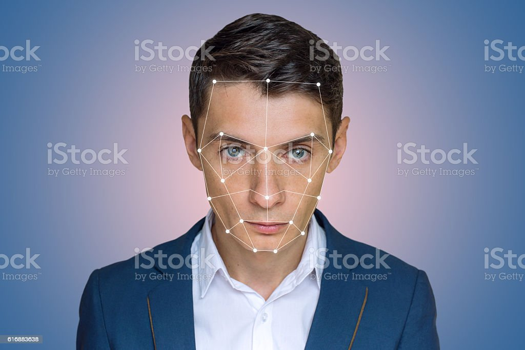 Biometric verification man face recognition stock photo