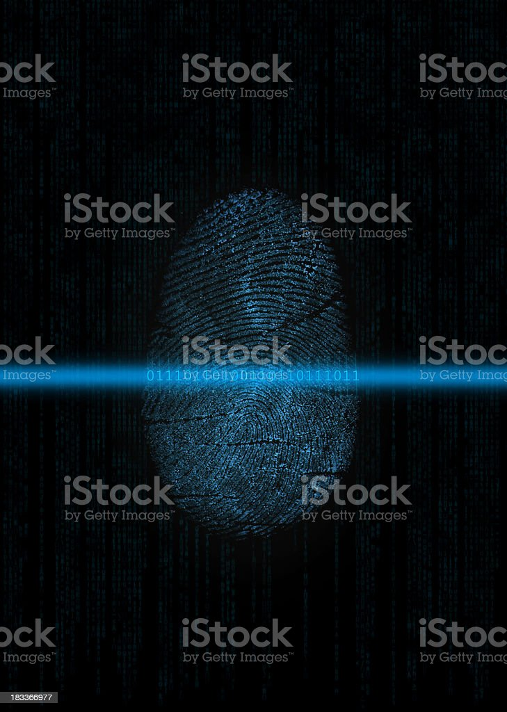 Biometrics: Fingerprint digitizing stock photo