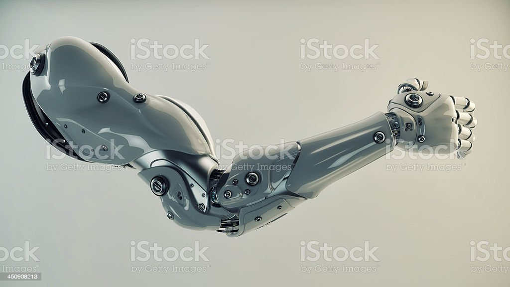 Bionic arm of a robot under production  stock photo