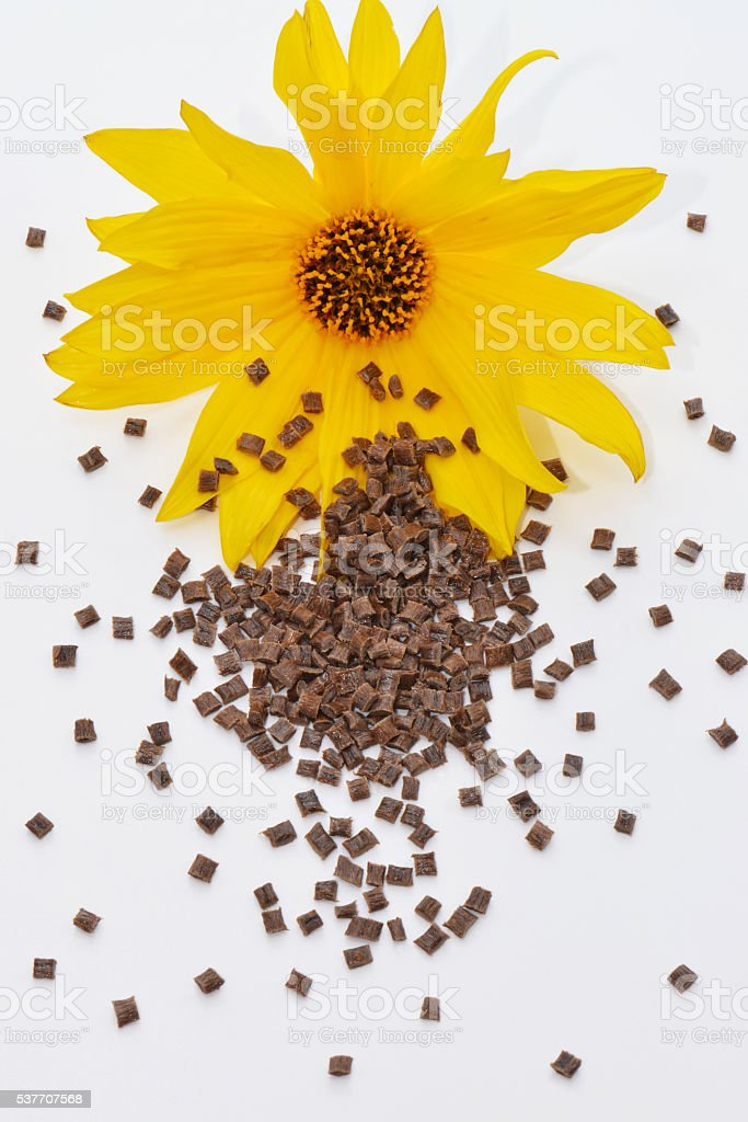 Biopolymer with blossom on white stock photo