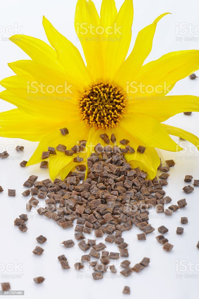 Biopolymer with blossom stock photo