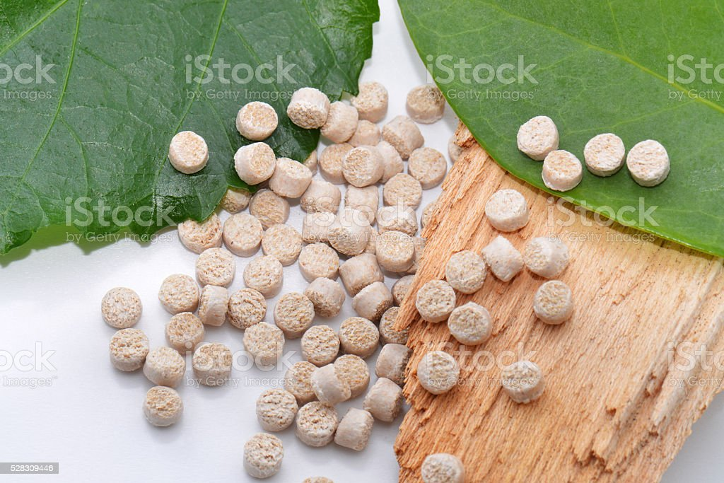 Biopolymer with leaves and wood stock photo