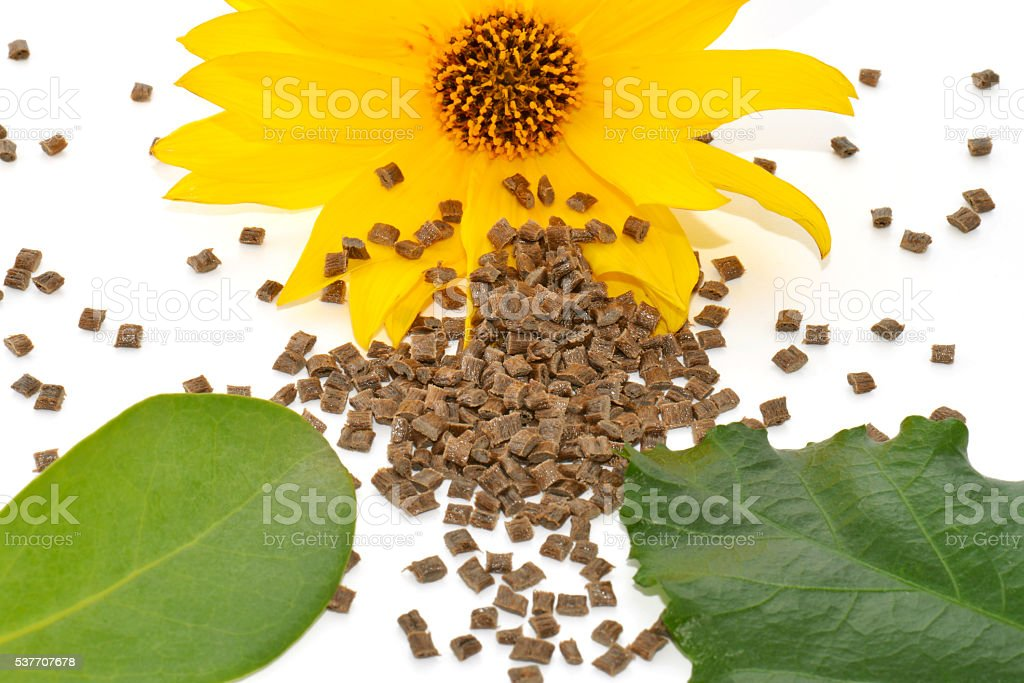 Biopolymer with leaves stock photo
