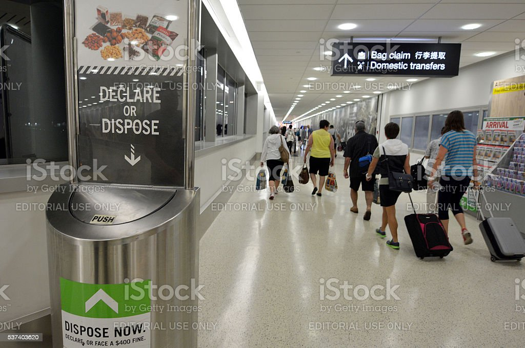Biosecurity in Auckland international Airport stock photo