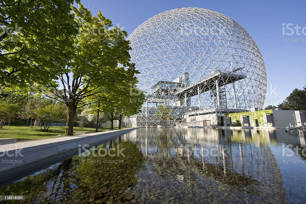 Biosphere of Montreal and mirror reflections stock photo