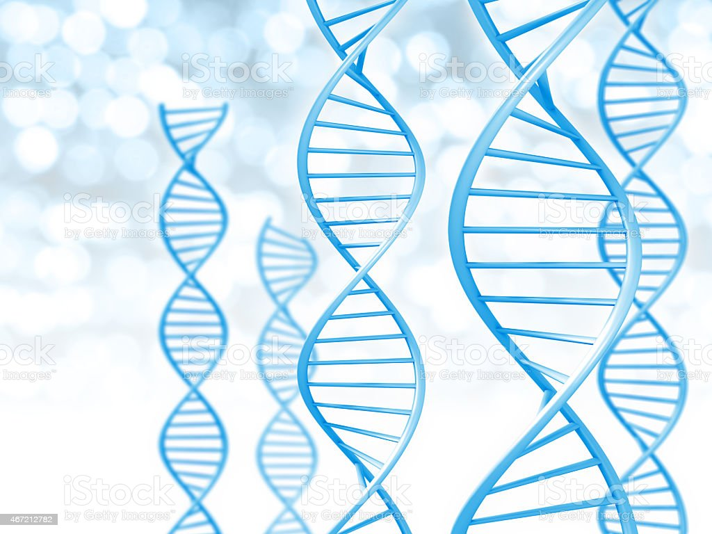 Biotechnology and genetic data concept of helix shaped DNA strings stock photo