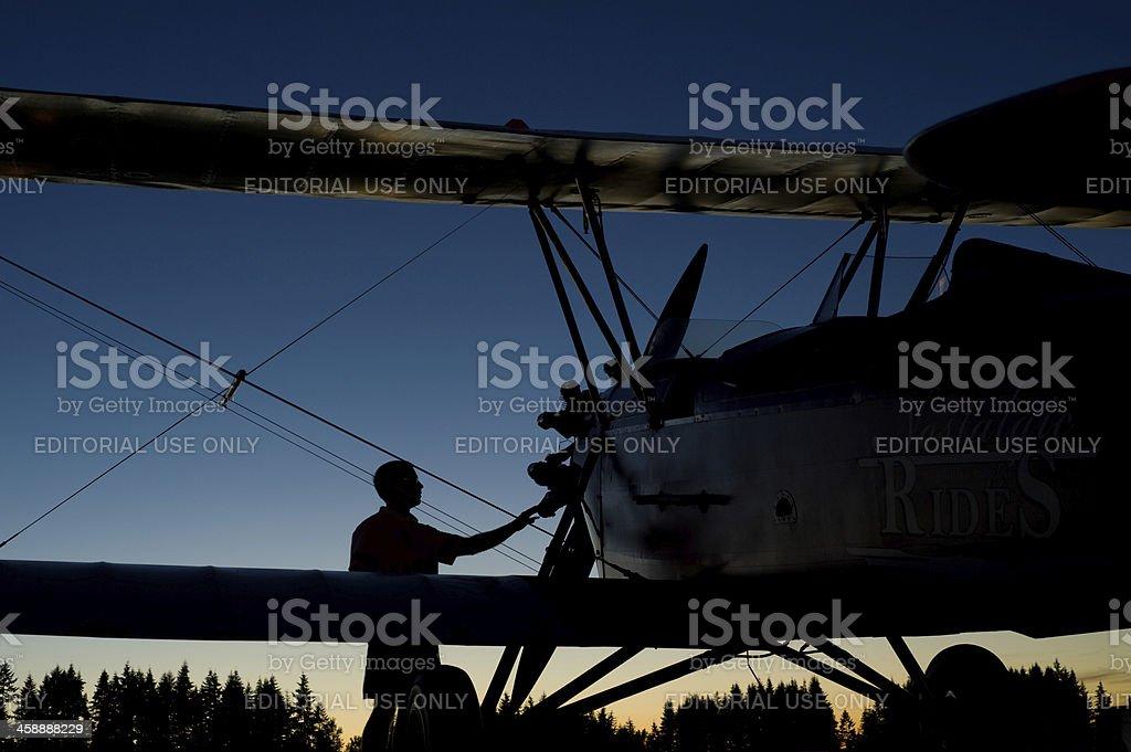 Biplane at Dusk royalty-free stock photo