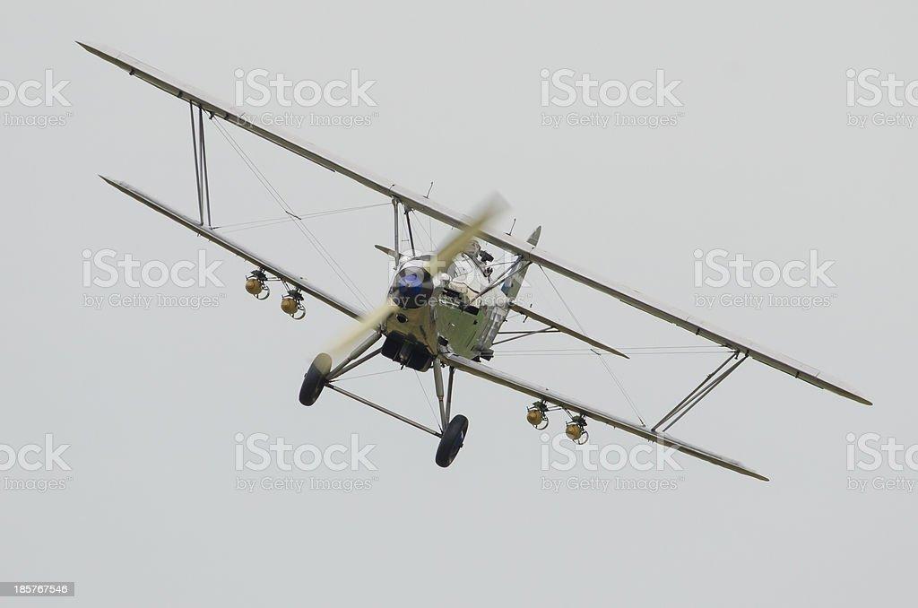 Biplane bomber in flight stock photo