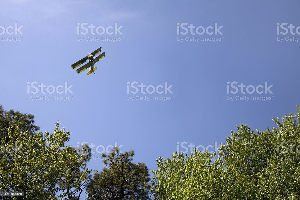 Biplane Spraying for Gypsy Moths stock photo