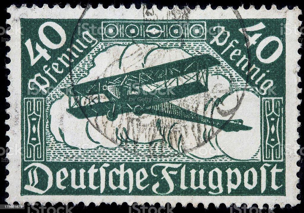 biplane stamp stock photo