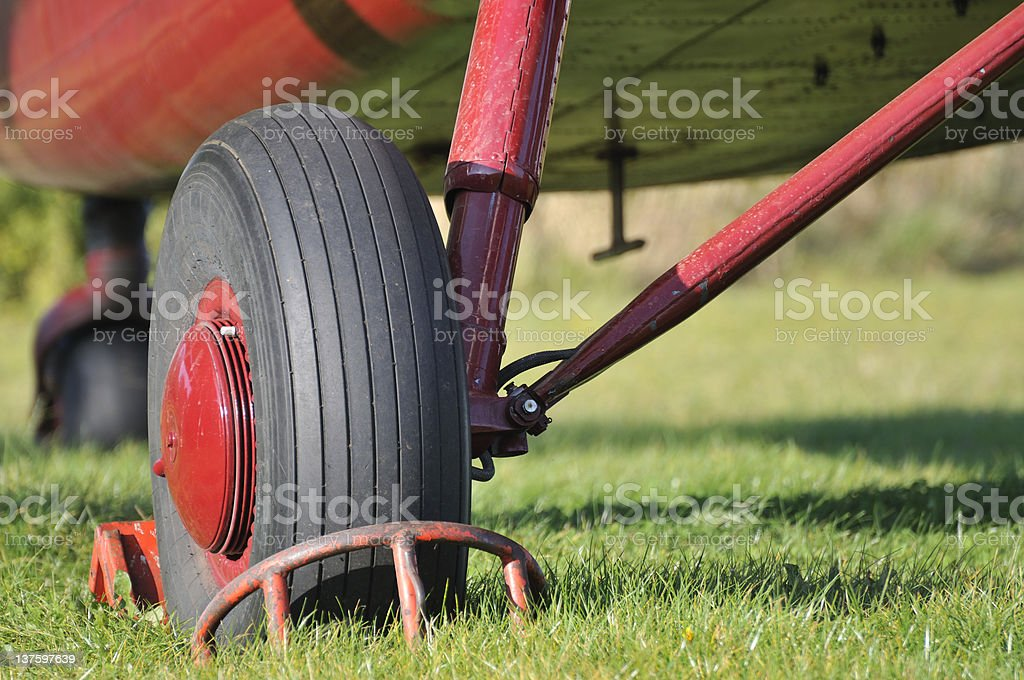Biplane under carriage stock photo