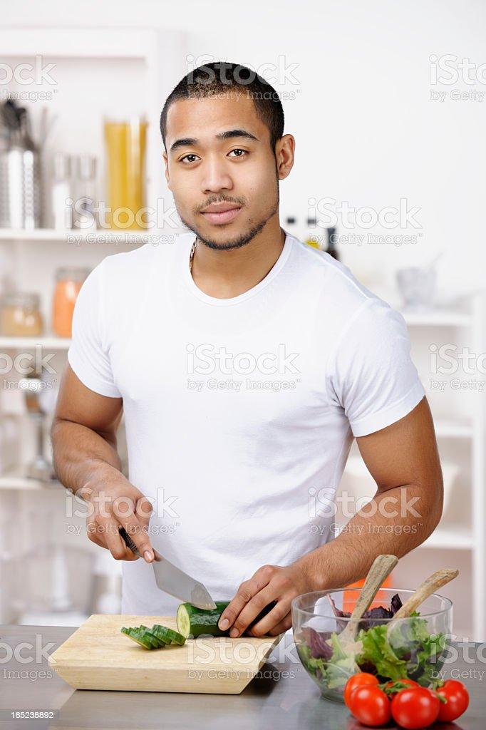 Biracial Man Making Healthy Meal royalty-free stock photo
