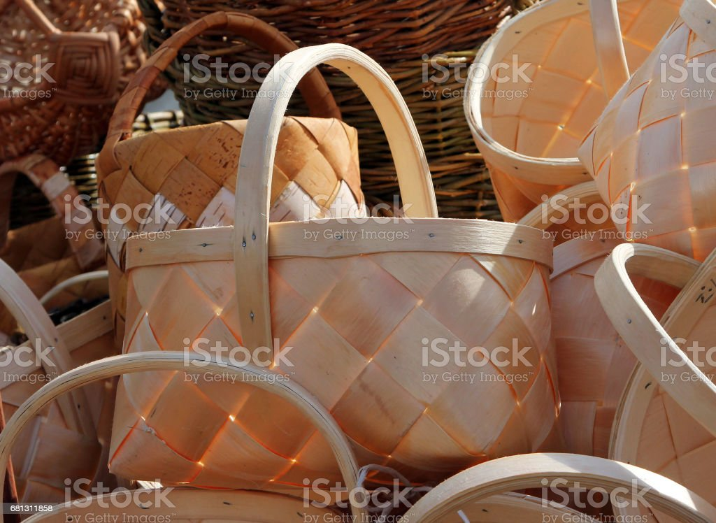 Birch bark baskets at the fair stock photo