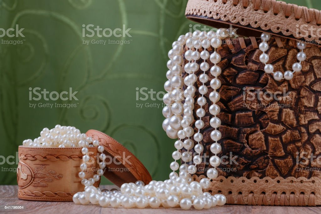 birch bark boxes with pearl beads stock photo