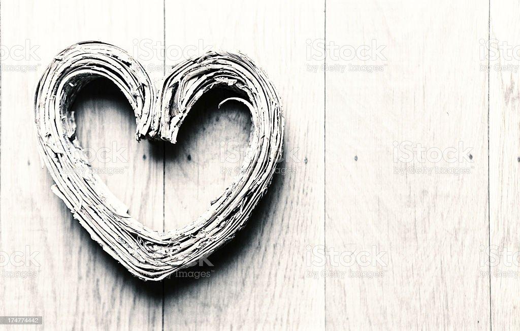 Birch Bark Heart on Wooden Backgound royalty-free stock photo
