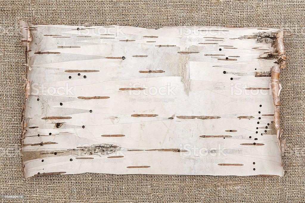 Birch bark on burlap background stock photo