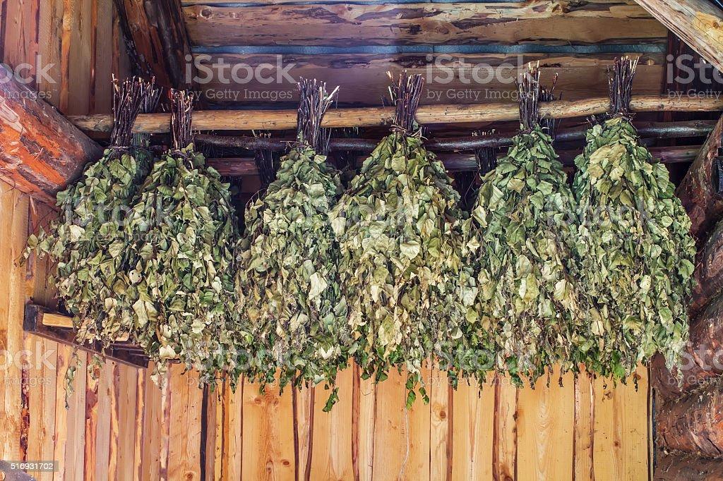birch brooms stock photo